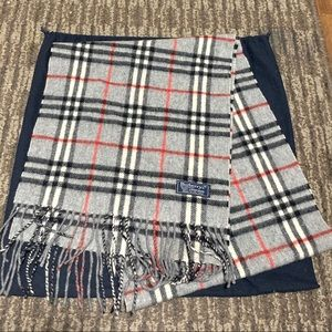 Authentic Burberry Long Gray Black Red Plaid Scarf